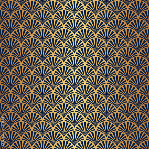 Fototapeta Seamless Art Deco Pattern with Gold Gradient