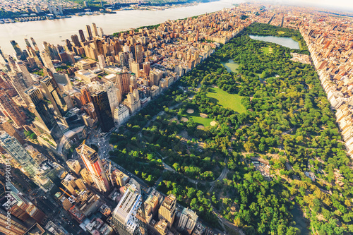 Aerial view of Manhattan looking north up Central Park Poster