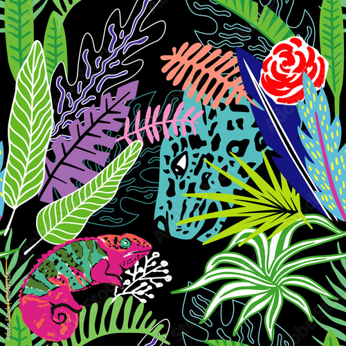 Cotton fabric Exotic animals leopard and chameleon in the exclusive tropic jungle hand drawn cartoon style. Print summer floral plant. Nature trendy wallpaper. Seamless vector pattern