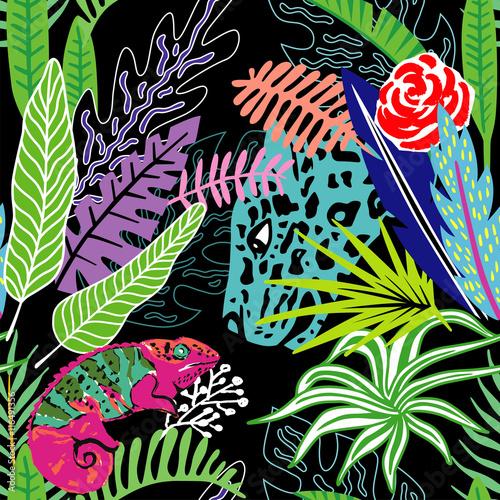 Materiał do szycia Egzotyczne zwierzęta leopard i Kameleon w ekskluzywnych dżungli zwrotnik ręka styl kreskówce. Wydrukować lato kwiatów roślin. Modne Tapety Natura. Wektor wzór