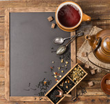 Teatime and chalkboard, above view.