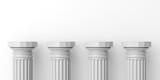Four white marble pillars. 3d illustration - 116496733