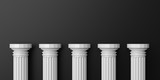 3d rendering five white marble pillars