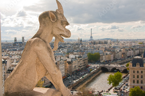 Zdjęcie XXL Gargoyle on Notre Dame Cathedral and city of Paris close up, France
