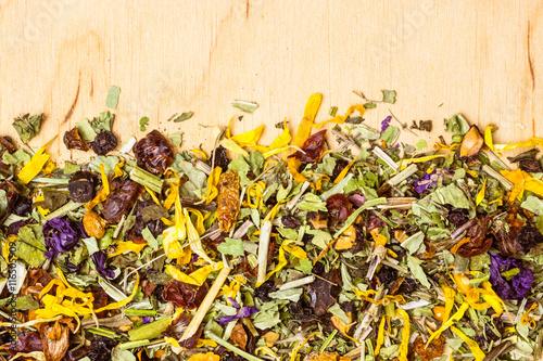 Fototapeta Assorted natural medical herbs border frame