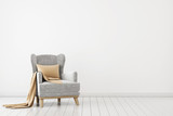 Fototapety Neutral interior with velvet armchair on empty white wall background. 3D rendering.