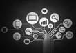 Data communications concept . Mixed media