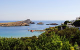 Sea views from the mountainside/ landscape of the island of Lindos