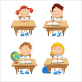 Boys and girls, schoolchildren, sitting at the table. Vector illustration isolated on white background