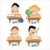 Boys and girls, schoolchildren, sitting at the table. Vector illustration on a white background
