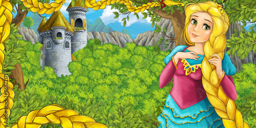 Foto op Aluminium Kasteel Cartoon fairy tale scene with castle tower - princess in the forest - castle tower in the background - illustration for children