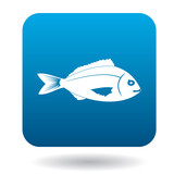 Saltwater fish icon in simple style in blue square. Animals symbol