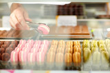 Macarons in showcase