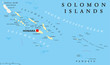 Постер, плакат: Solomon Islands political map with capital Honiara on Guadalcanal Sovereign country consisting of six major islands in Oceania between Papua New Guinea and Vanuatu English labeling Illustration