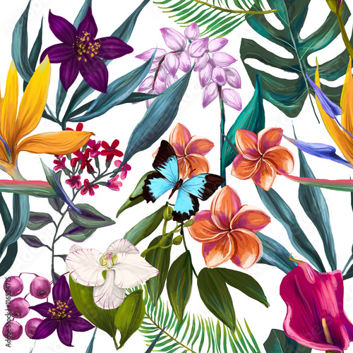 Materiał do szycia seamless exotic floral fashion pattern