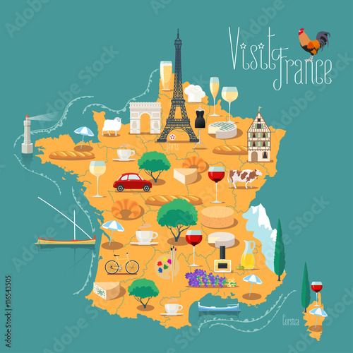 Plagát, Obraz Map of France vector isolated illustration