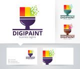 Digital Paint vector logo with alternative colors and business card template