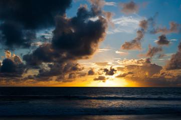 Romantic warm sunset on a beach