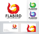 Flame Bird vector logo with alternative colors and business card template