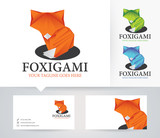 Fox Origami vector logo with alternative colors and business card template