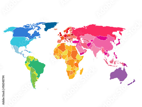 Poster Political World Map. Detailed World map of rainbow colors.