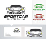 Sport car vector logo with alternative colors and business card template