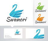 Swan Origami vector logo with alternative colors and business card template