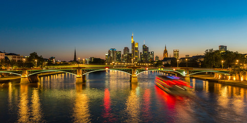 Frankfurt at the main river at night