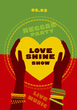 tribal human hand with bracelets hold yellow heart. reggae folk