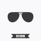 Aviator sunglasses sign icon. Pilot glasses.