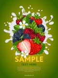 Berries mix composition in milk splash vector illustration