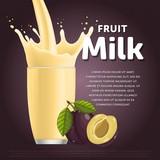 Plum sweet milkshake dessert cocktail glass fresh drink in cartoon vector illustration