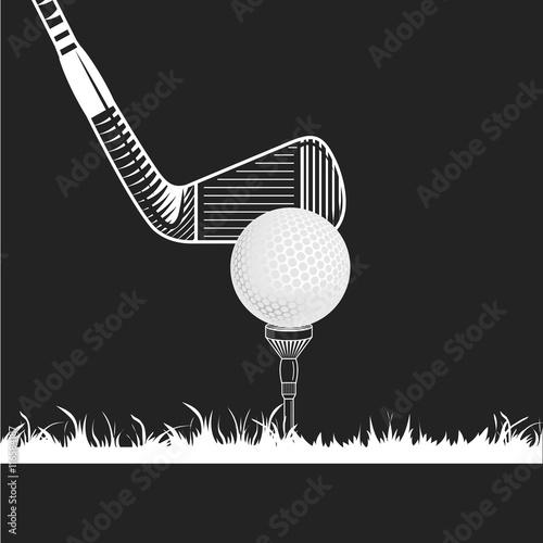 Fototapeta Golf tee with ball and iron club