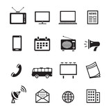 Fototapety Advertising media silhouette icons, marketing and television, radio and internet content vector