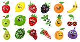 Happy smiling fruits on white background. Cute fresh stickers or decoration for menu, book and more.