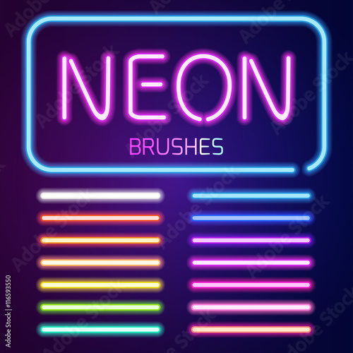 Neon brushes set