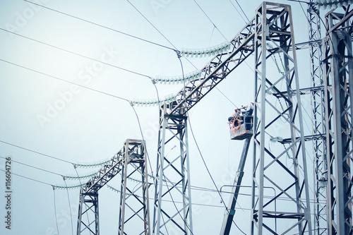 Power transformer substation. Technology landscape. Poster