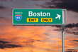 Boston Exit Only Highway Sign with Sunrise Sky