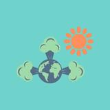 flat icon on stylish background earth greenhouse effect