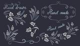 Set hand drawn design elements and corner ornament