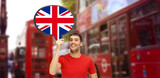 Fototapety man with text bubble of british flag in london