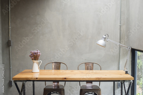 Modern desks with cement wall