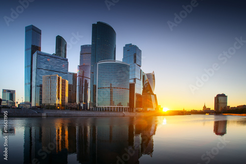 Fotobehang Moskou Moscow-city, Russia. Moscow International Business Center. at sunset