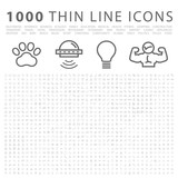Fototapety Set of 1000 Isolated Minimal Modern Simple Elegant White Icons.