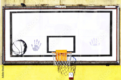 Poster basketball hoop on the wall
