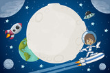 Astronaut cartoon boy flying in the space with a futuristic rocket skate board. - 116637769