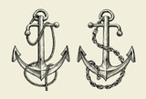 Hand drawn nautical anchor. Vector illustration