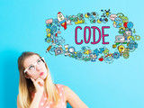 Code concept with young woman