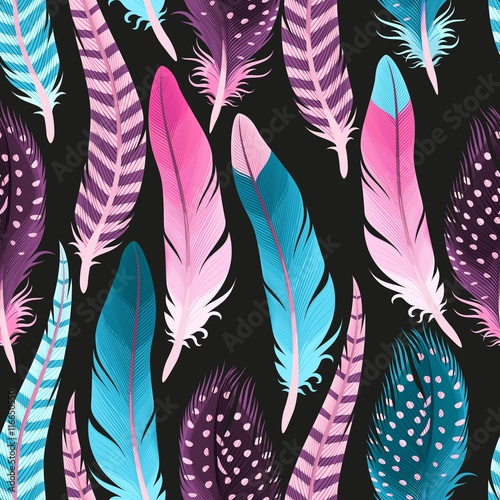 Decorative feathers seamless - 116650550
