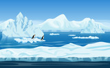 Fototapety Cartoon nature winter arctic ice landscape with iceberg, snow mountains hills and penguins. Vector game style illustration. Seamless background for games.
